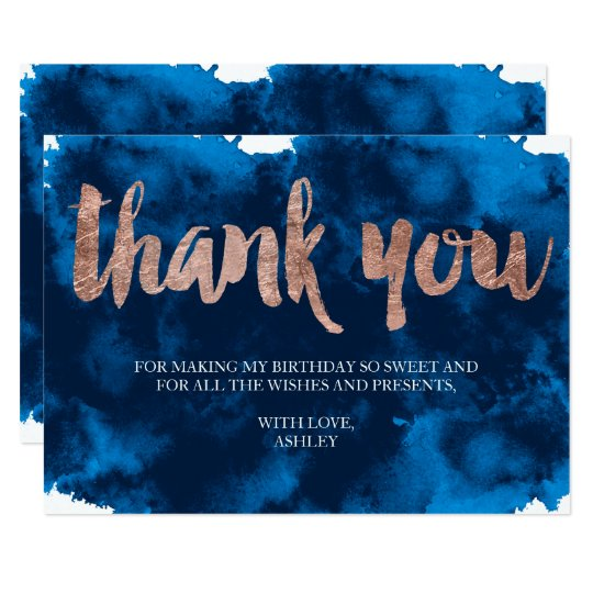 Rose gold typography navy watercolor thank you card