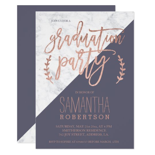 Rose gold typography purple grey marble graduation card