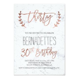 Rose gold typography white marble 30th Birthday 13 Cm X 18 Cm Invitation Card