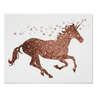 Rose Gold Unicorn Sparkle Poster