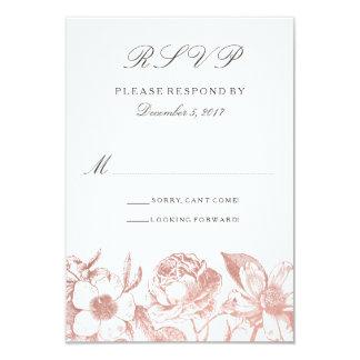 Rose Gold Vintage Floral RSVP card