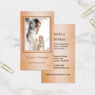 Rose Gold Watercolor Photographer Business Card