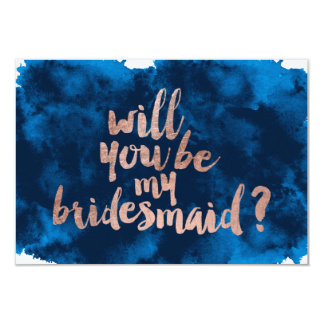 Rose gold watercolor Will you be my bridesmaid 9 Cm X 13 Cm Invitation Card