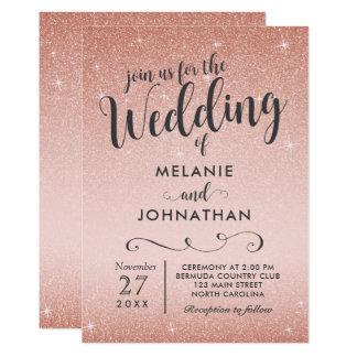 Rose Gold Wedding Invitation, Pink Card