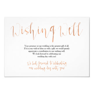 Rose Gold Wedding Wishing Well Card