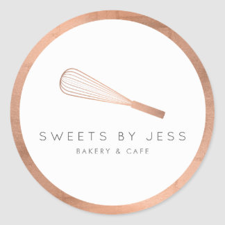 Rose Gold Whisk Bakery Classic Round Sticker