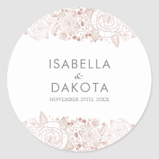Rose Gold & White | Chic Floral Wedding Classic Round Sticker
