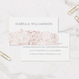Rose Gold & White | Chic Flowers Business Card