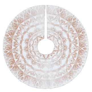 Rose Gold White Damask Mandala Brushed Polyester Tree Skirt