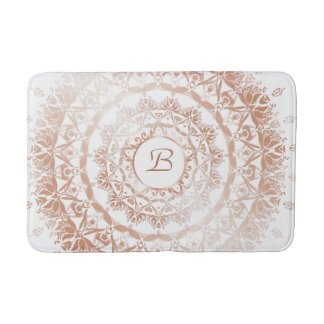 Rose Gold White Damask Mandala Monogram Bath Mat