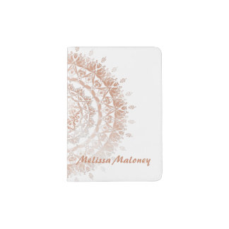 Rose Gold White Damask Mandala Monogram Passport Holder