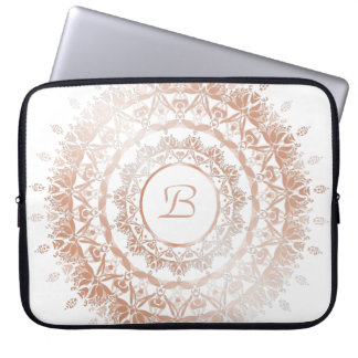 Rose Gold White Floral Mandala Monogram Laptop Sleeve