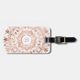 Rose Gold  White Floral Mandala Monogram Luggage Tag