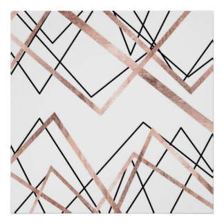 Rose Gold White Linear Triangle Abstract Pattern Poster