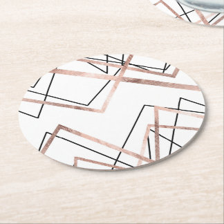Rose Gold White Linear Triangle Abstract Pattern Round Paper Coaster