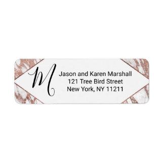 Rose Gold White Modern Marble Address Return Address Label