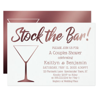 Rose Gold & White Stock the Bar Couples Shower Card