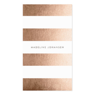 Rose Gold White Stripes Hair Stylist Cards Pack Of Standard Business Cards