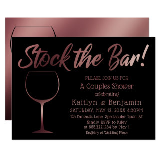 Rose Gold Wine Glass Stock the Bar Couples Shower Card