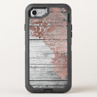 Rose Gold Wood Vintage Distressed Defender OtterBox Defender iPhone 8/7 Case