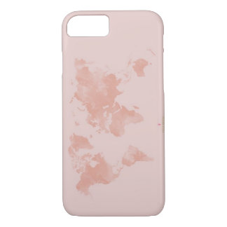 Rose Gold World Map iPhone 7 Case