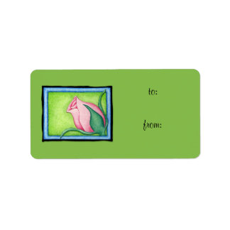 Rose green Gift Tag Label Address Label
