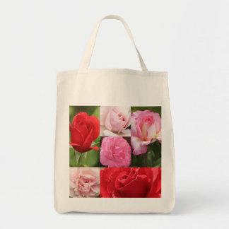 Rose grid tote bag