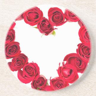 Rose heart beverage coasters
