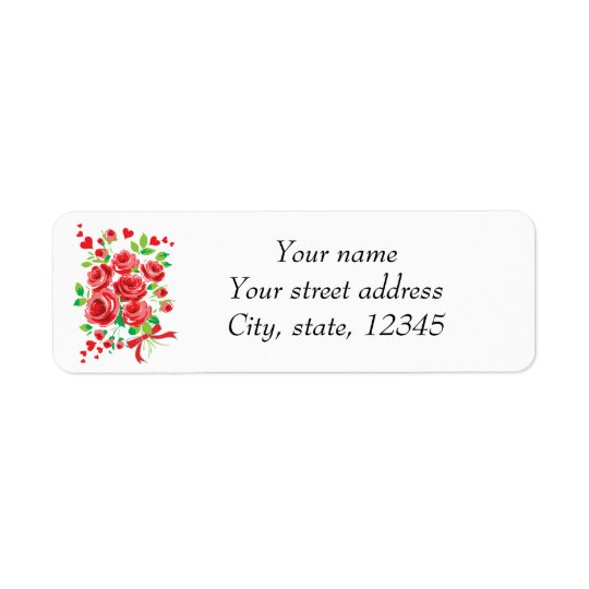 Rose heart bouquet return address label