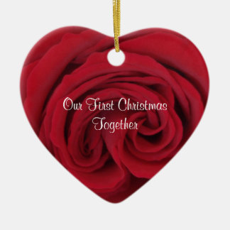 Rose Heart First Christmas Together Ornament