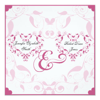 "Rose Heart Floral Wedding 5.25"" Square Invitation Card"