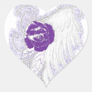 Rose Heart Purple Heart Stickers