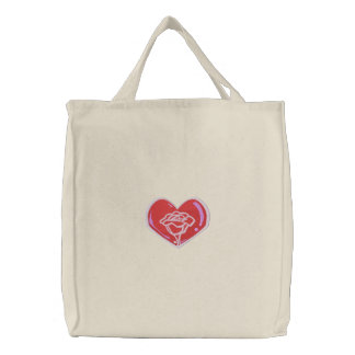 Rose Heart Tote Embroidered Tote Bag