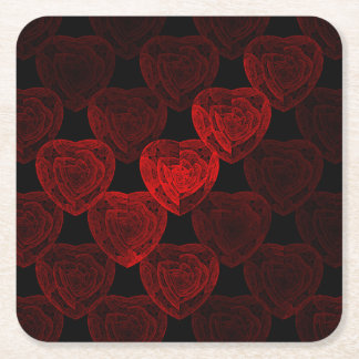 Rose Hearts Square Paper Coaster