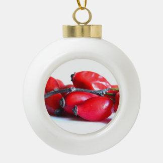 Rose Hip Berries Ceramic Ball Decoration
