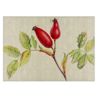 Rose hip fine art glass cutting board