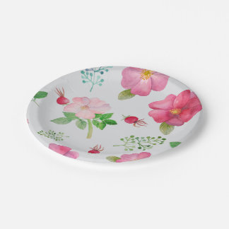 Rose Hip Garden Pattern 7 Inch Paper Plate