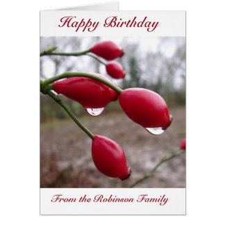 Rose Hips And Rain Birthday Card Custom Family