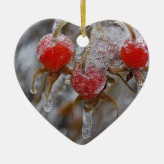 Rose Hips Under Ice Ceramic Heart Decoration