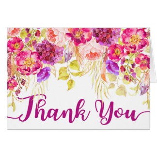 Rose Hydrangea Floral Drop Thank You Card