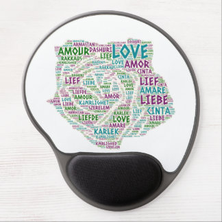 Rose illustrated with Love Word Gel Mouse Pad