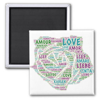 Rose illustrated with Love Word Magnet