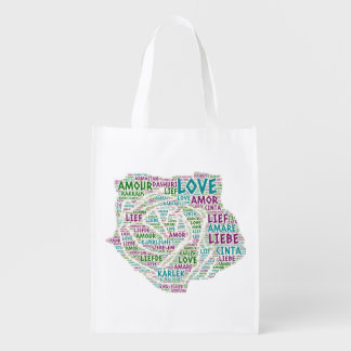 Rose illustrated with Love Word Reusable Grocery Bag