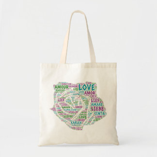 Rose illustrated with Love Word Tote Bag