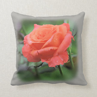 Rose In A Garden With Raindrops Cushion
