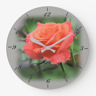 Rose in Full Bloom, Salmon Colored Large Clock