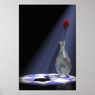 rose in vase poster