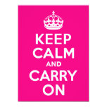 Rose Keep Calm and Carry On 14 Cm X 19 Cm Invitation Card
