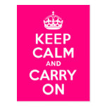 Rose Keep Calm and Carry On Postcards