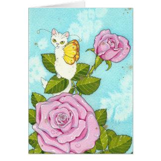 Rose kitty fairy notecard